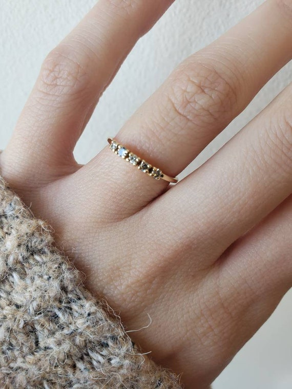 Minimalist Gold Ring Stacking Ring Pearl Dainty Jewelry Diamonds Open Ring Double Ring Yellow Gold Two Fingers Ring Gold Nuggets