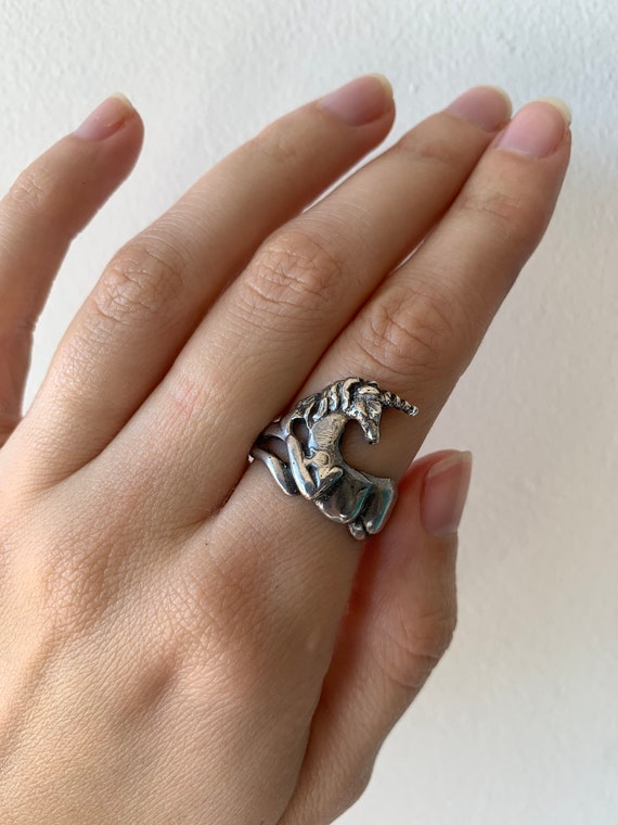 Vintage Sterling Silver Unicorn Ring