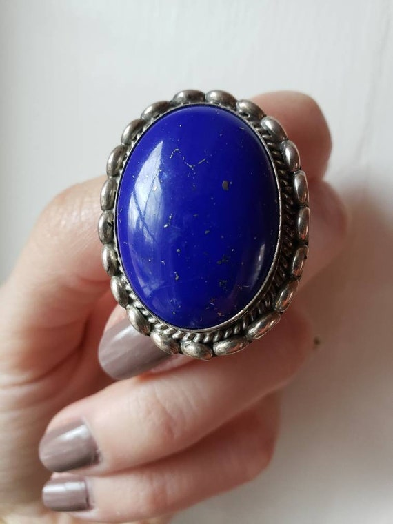 Vintage Vibrant Lapis Lazuli Blue Oval Glass Cabochon Bracelet /& Earring Set
