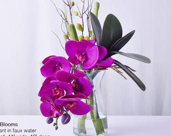 Fuchsia/purple, silk, orchid/orchids, phalaenopsis, plant, faux water, acrylic/illusion, Real Touch flowers, floral arrangement, centerpiece