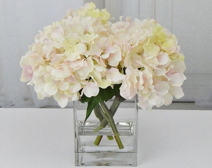 Hydrangea realistic blooms floral arrangements silk real creampinkblush silk hydrangea fauxacrylicillusion mightylinksfo