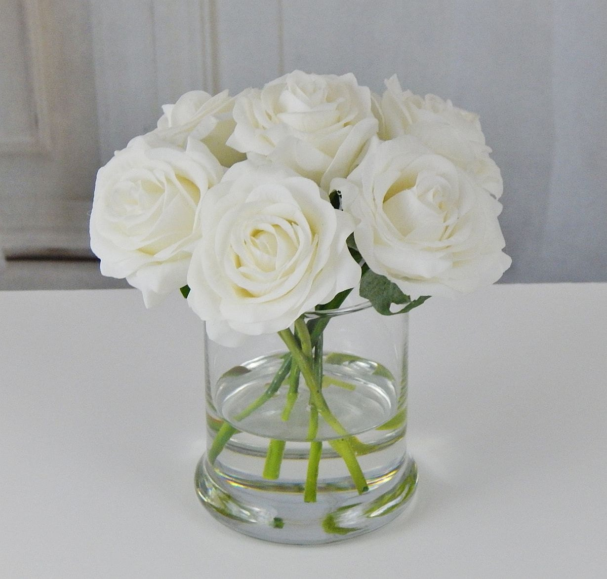 White Roseroses Glass Vase Faux Water Acrylic Illusion Silk