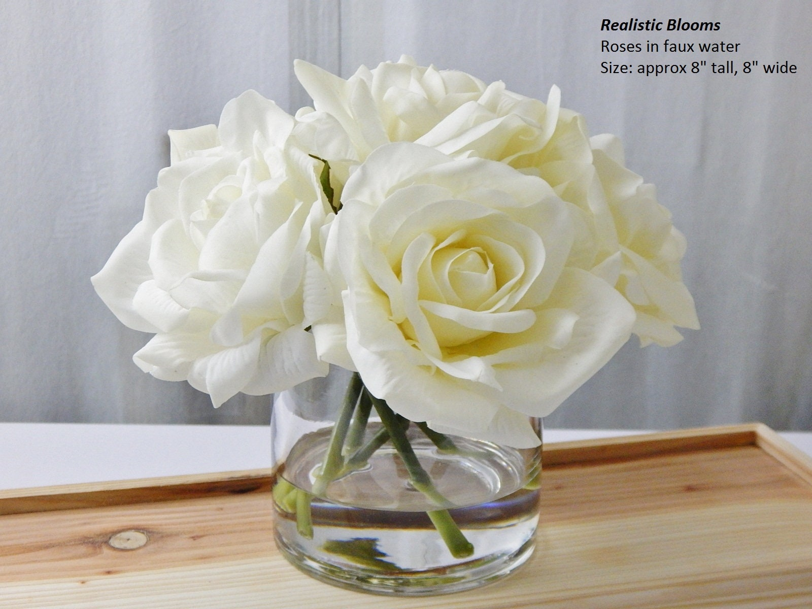 Ivorycream Roseroses Glass Vase Faux Water Acrylicillusion