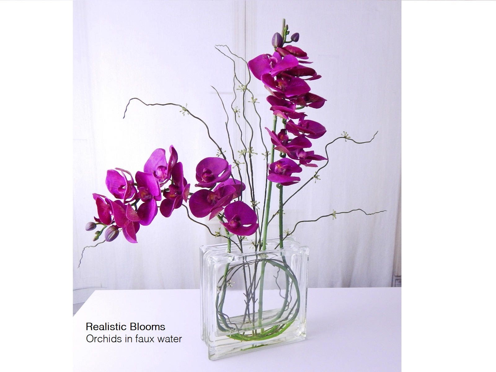 Fuchsiapurple silk orchidorchids phalaenopsis plant glass fuchsiapurple silk orchidorchids phalaenopsis plant glass faux water acrylicillusion real touch flowers floral arrangement mightylinksfo