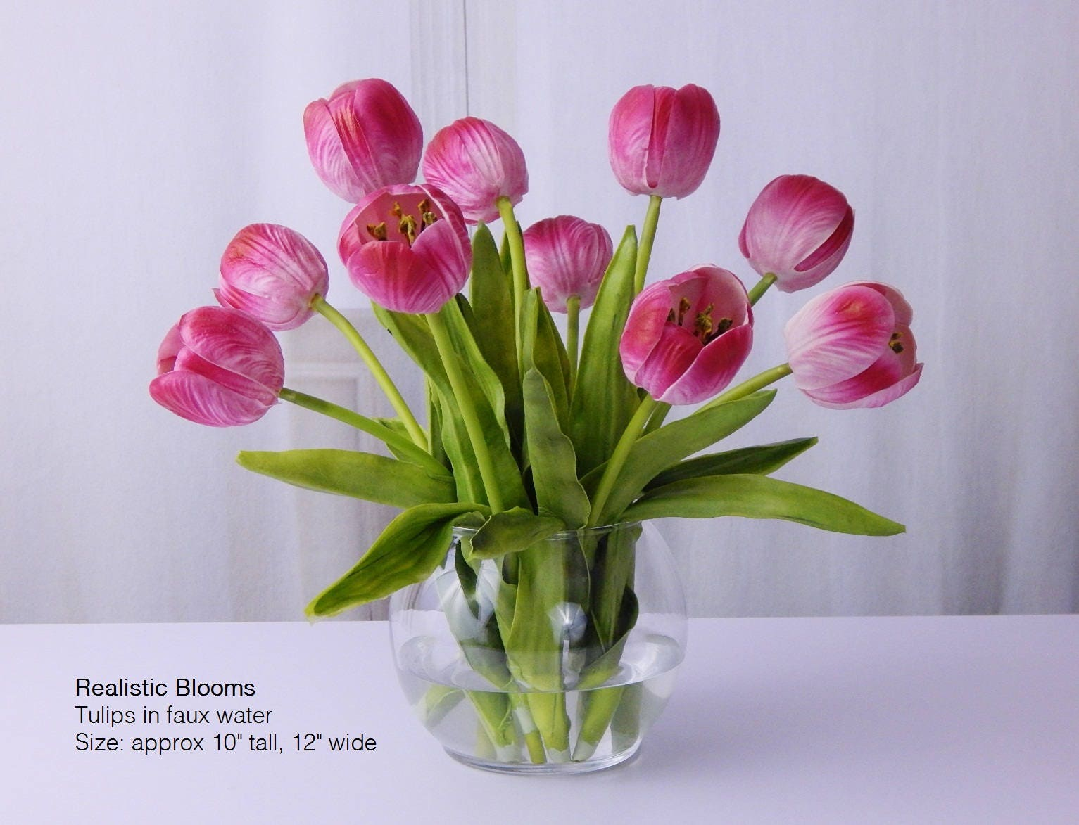 Pink Tuliptulips Silk Floral Arrangement Faux Water Acrylic Illusion