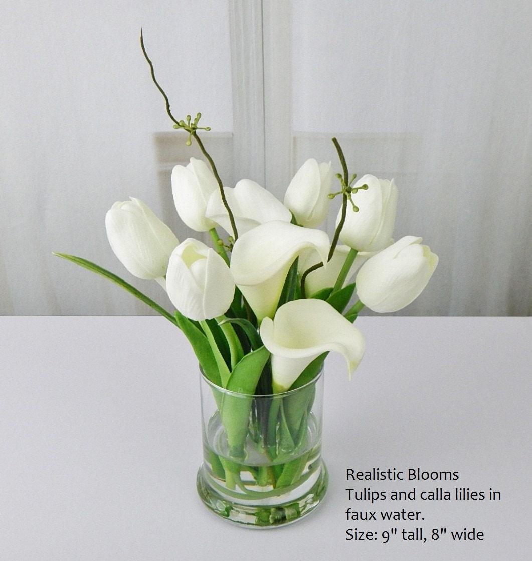 White/offwhite, silk, tulips/tulip, calla lilies, glass, faux water ...