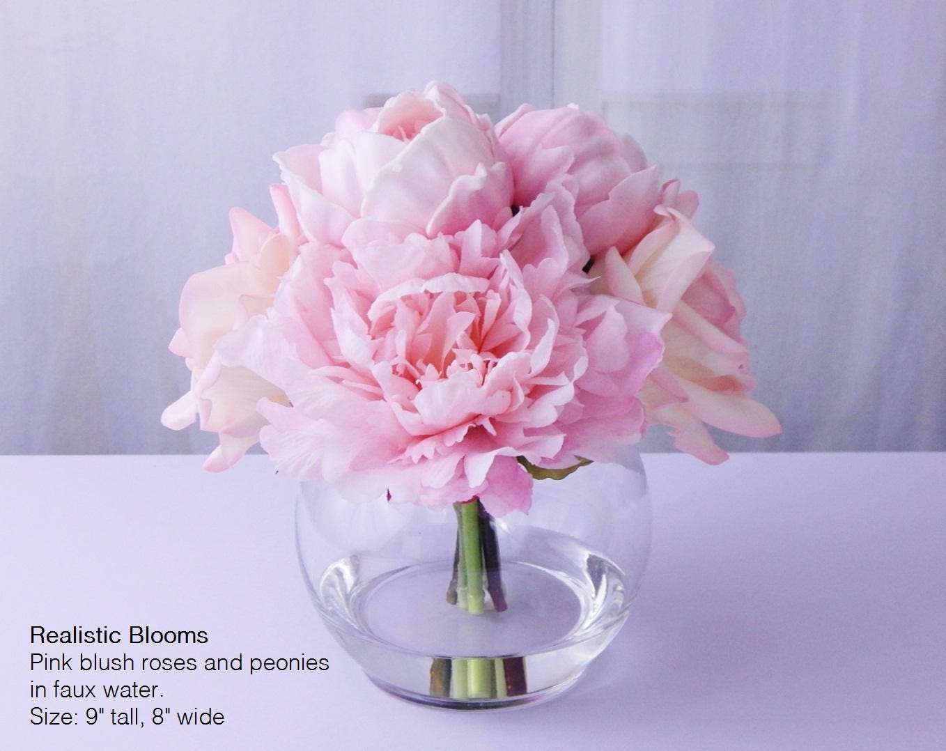 Pink Blush Silk Peonypeonies Rose Faux Water Acrylicillusion