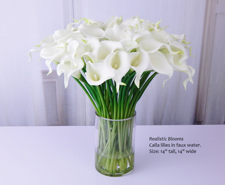 Whiteoffwhite Calla Lilylilies Silk Floral Arrangement Faux