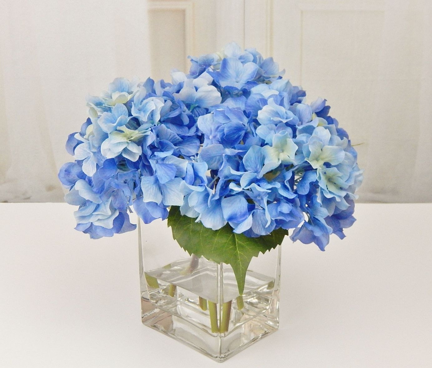 Blue Silk Hydrangea Fauxacrylicillusion Water Real Touch