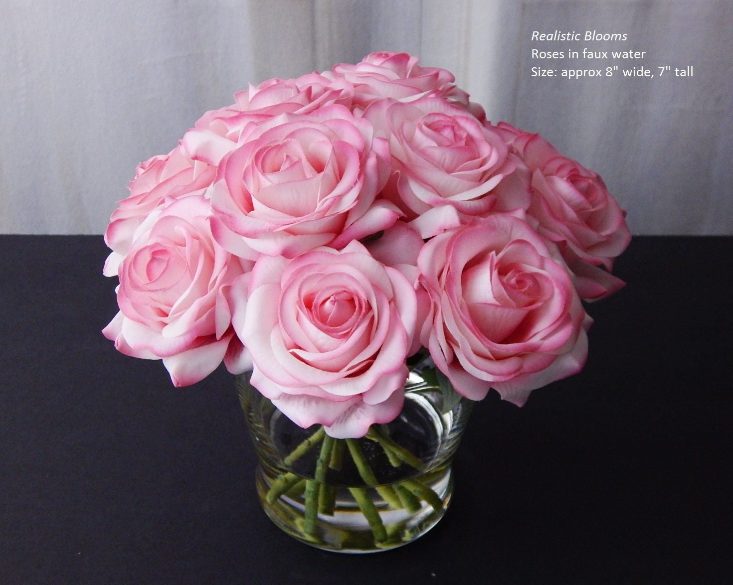 Pinkblush Silk Roseroses Faux Water Acrylic Illusion Real