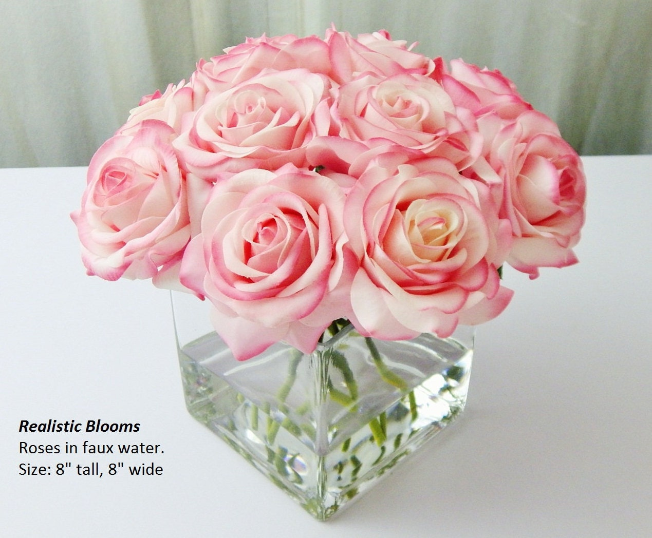 Pinkblush Silk Roseroses Cubevase Faux Water Acrylic