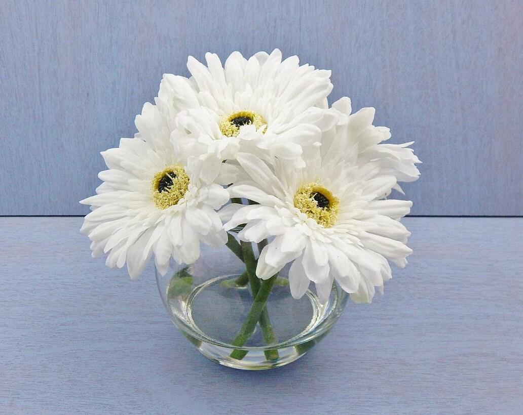 White Silk Gerbera Daisydaisies Glass Vase Faux Water Acrylic