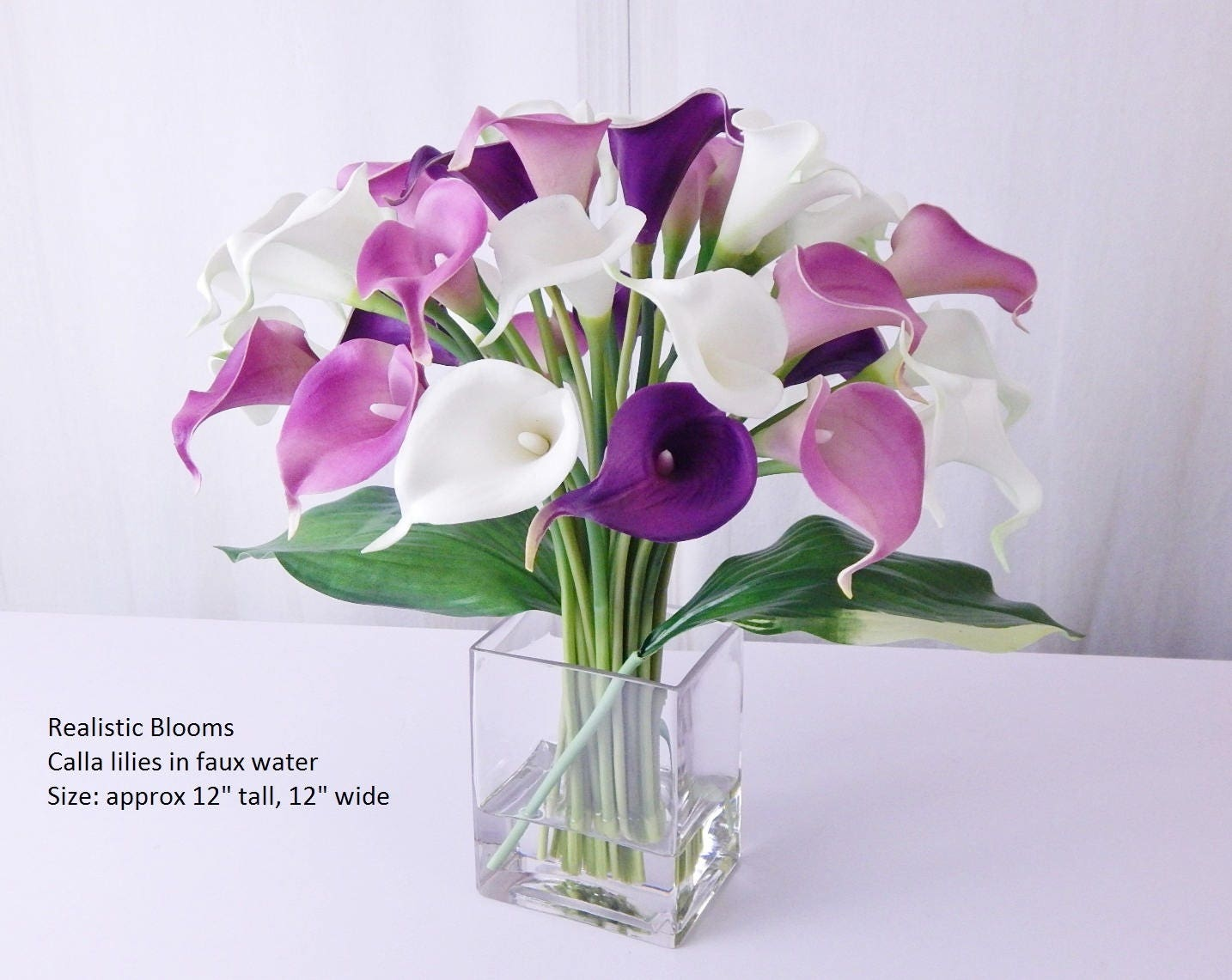 Contemporary Purple White Calla Lilylilies Silk Floral Arrangement