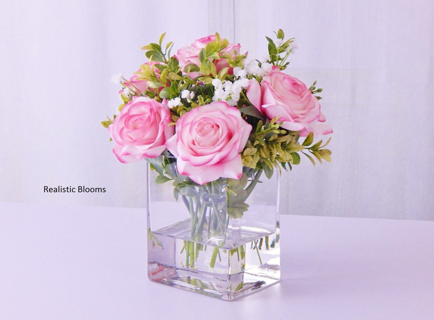 Roseroses Babys Breath Fauxacrylicillusion Water Real Touch