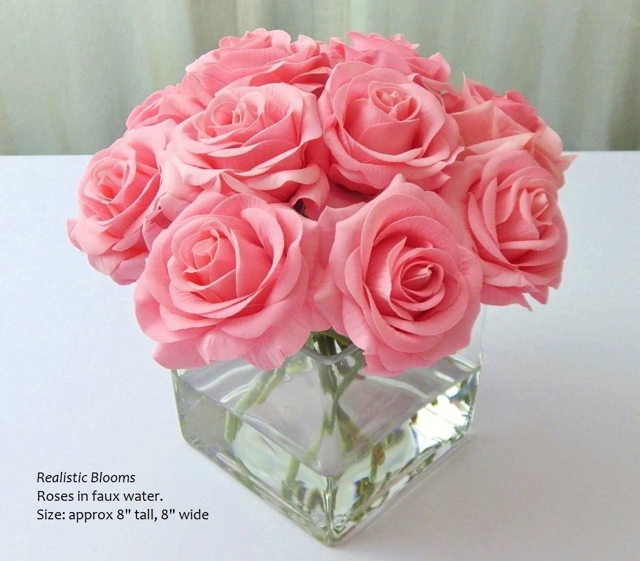 Pink Silk Roseroses Cubevase Faux Water Acrylicillusion