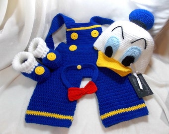 Donald Duck costume,hat Donald Duch,crocheted booties,baby boys'clothing,costume for photo props,newborn costume