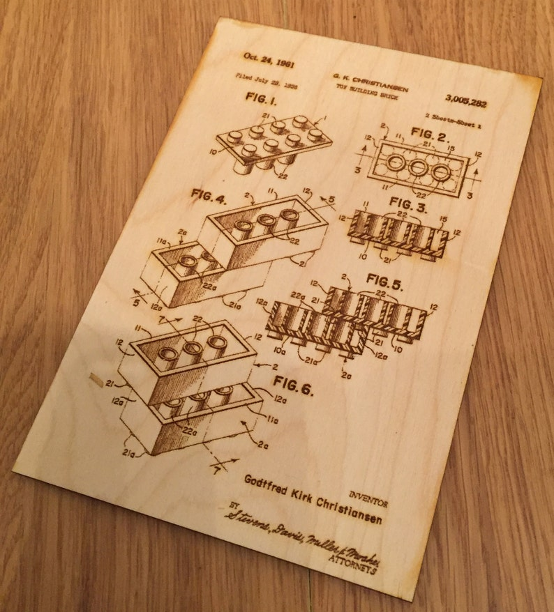 Wooden engraved Lego ® Patent image on 3mm Birch Plywood