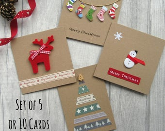 set of 5 or 10 christmas cards card multipack holiday cards xmas cards festive cards card bundle christmas card pack cute christmas - Christmas Images For Cards