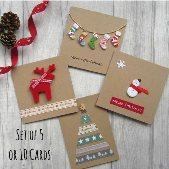 Set Of 5 Or 10 Christmas Cards Card Multipack Holiday Cards Etsy
