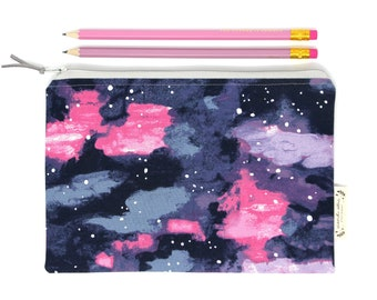 Pink Watercolour Pencil Case. Galaxy Multi Pencil Pouch. Make Up Bag. Travel Pouch. Stationery Gifts For Her. Back To School. Rae Ritchie.