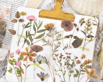 Floral Stickers Pack. 45 pcs Pressed Flowers Sticker Set. Vintage Wedding Scrapbook. Journal Stickers. Pretty Planner