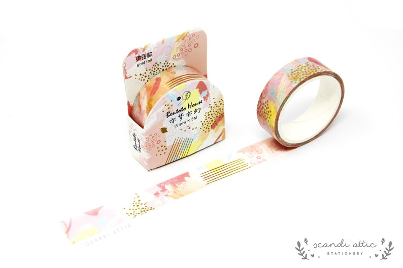 Watercolour Colourful Tape Cute Stationery Kawaii Planner Accessories Rose Gold Foil Tape Pastel Journal Decoration Pink Washi Tape