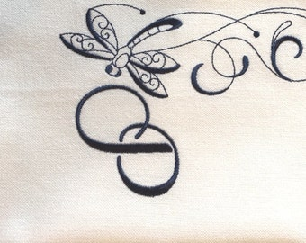 MONOGRAMMED - One letter monogram with Dragonfly embellishment - Kitchen Dish Towel, Tea or Bar Towel, Hand or Guest Towel