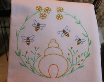 BEES - Bees and Beehives - A kitchen, tea, or bar towel, Hand or Guest Towel