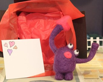 Valentines day love monster needle felted cute comical gift deep purple with fuscia pink heart and lips