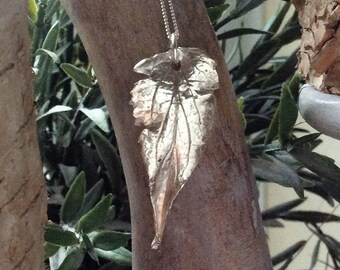 Handmade real leaf fine silver pendant Mother's Day