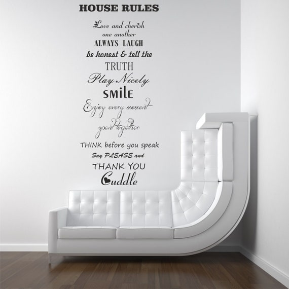 house rules vinyl wall art decal wall sticker | etsy