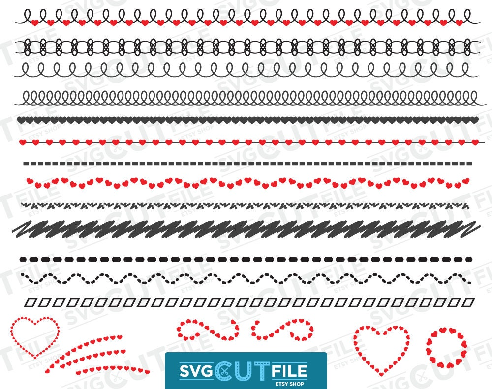 Zick-Zack-Svg Linie Rick Herz Grenze Zickzack Text Teiler | Etsy
