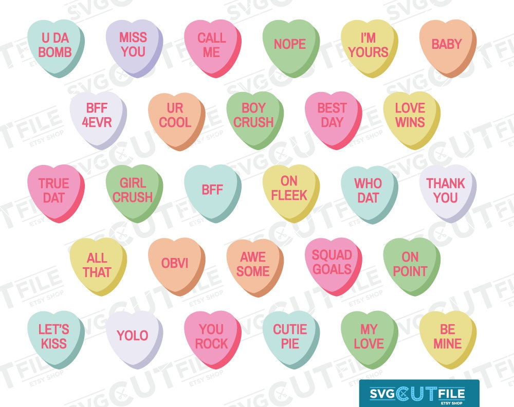 Massif image within printable conversation hearts
