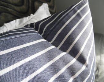 Denim Look Twill Stripe.Pillow Cover.Slipcover.Toss Pillow.Lumbar Pillow.Blue.White.Farmhouse.Bedroom.Living Room Decor Pillow.SOFT.Nautical