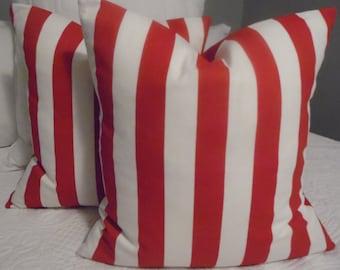VALETINES DAY.Pillow Cover.cabana stripe Red.White.Stripe.holiday decor.Beach Decor.Poolside Decor.Slip Covers.Deck Decor.Patio.