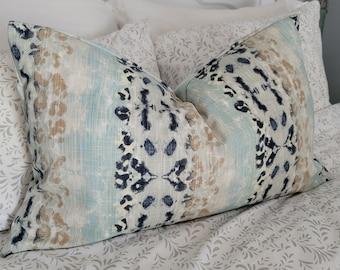 Leopard Print Slub. Throw Pillows.Slipcover.Toss Pillows.Fall Decor. Navy and Beige.Animal Print
