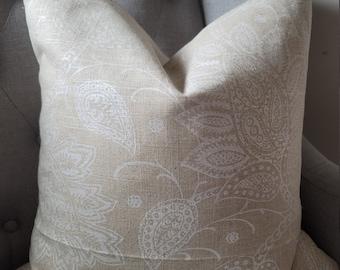 Robert Allen Shimmer Pearl in Natural. Linen.Toss Pillows.Throw Pillows.Slipcovers.
