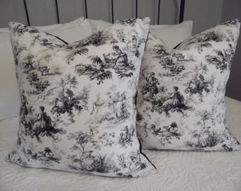 2 Patterns to Choose: PillowCovers, Black Toile Pillow Cover,Black Toile. Beautiful Pattern Toile.Slip Covers.Pillow Covers.Home Decor