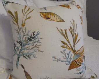 Seaside. Oceanfront. Coastal Decor. Shell pillow cover.coral.blues.greens.Browns.natural.Beach.Ocean scene pillow cover.Slip Cover.Coastal