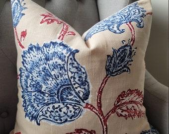 Duralee.Linen Slub.Floral.Blues/Rust Reds.Neutrals.EURO.Lumbars.Toss Pillows.throw Pillows.Cushion Covers.