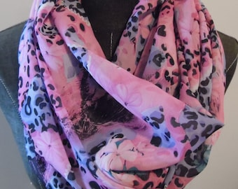 Infinity Scarf.Scarves.Circle Scarf.SCARF.Spring Scarf.Summer Scarf.Gift for Her.Pink.Blue/Green.Black.Leopard.Floral