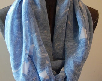 Paisley Scarf.Infinity Scarf.Circle Scarf.Blue Scarf.Summer Scarf.Spring Scarf.Gift for Her