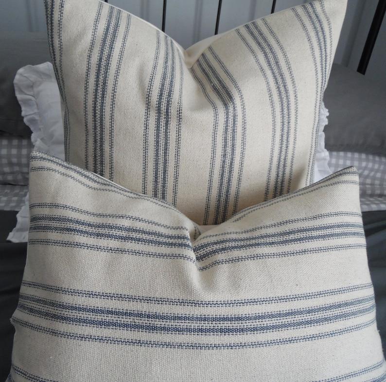 Grain Sack.Blue/Natural.FARMHOUSE Pillows.Accent Pillows.Toss image 0