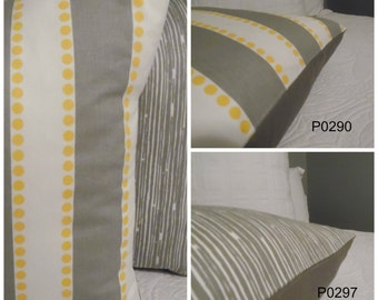 Storm Grey. 18 x 18 Yellow.White.Grey. Lulu Stripe.Scribble.Grey.White. Cotton. Throw Pillow.Toss Pillow.Slipcovers.Pillows