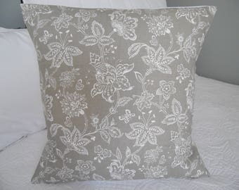Taupe.Griege.White.Florets.Pillow Cover.FALL Decor.Gift for Mom.Pillowsfordays.Country Decor.Ranch Decor.Country Living Slip Covers