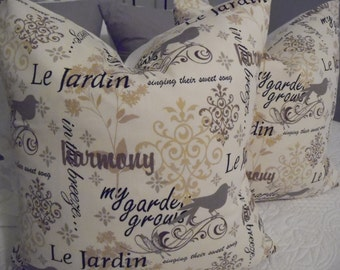 """Cover,""""Le Jardin"""" Black.Taupe.Ivory.Natural. Birds.FrenchScript Pillow Covers.My Garden grows.Home Decor.Slip Covers.Pillow Covers"""