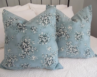 Pillow covers.Linen Pillow Covers.Soft Blue.Dark Green.Bedroom pillow covers.Home Decor.Country Living.Pillow Cover.Slip Cover.Floral.