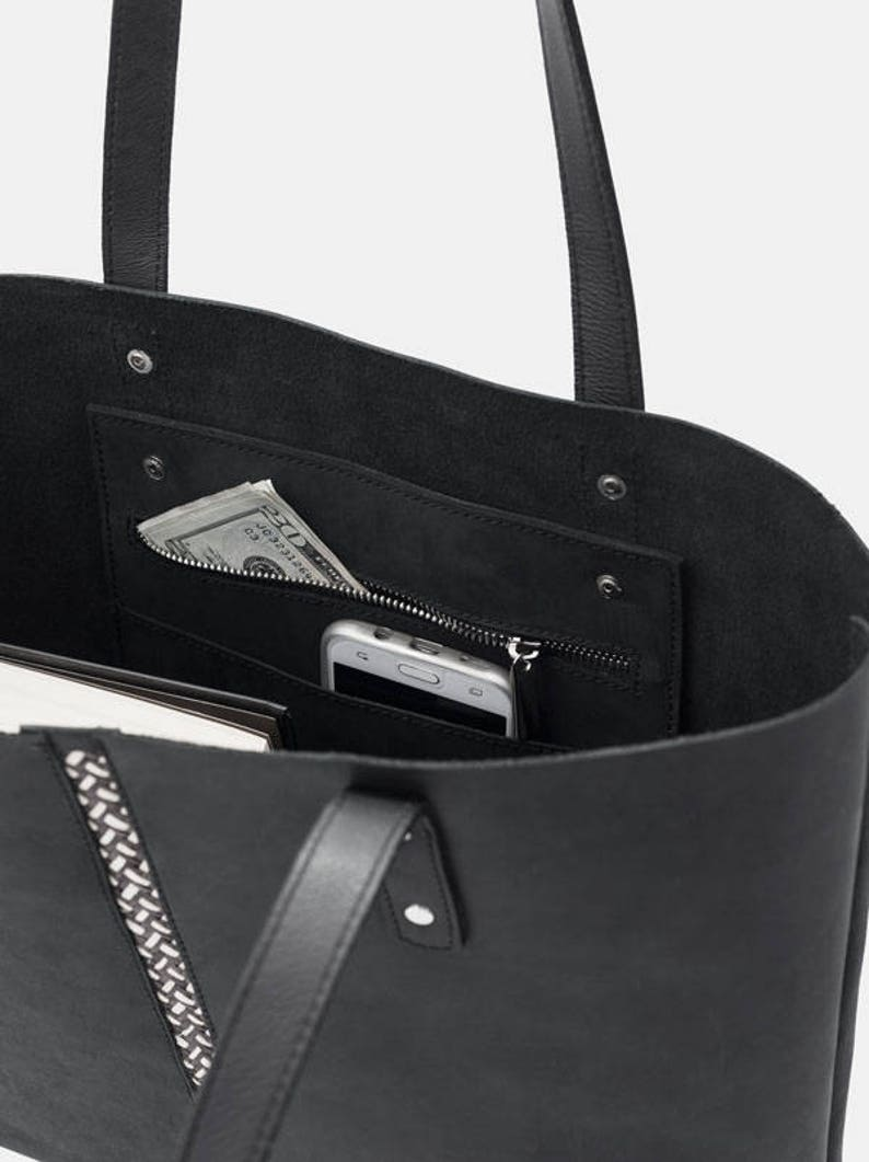 Large Leather Tote with Ca\u00f1a Flecha Insert