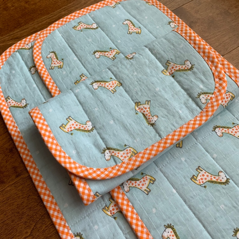 Double Gauze Gingham Check Boy or Girl Giraffe Cotton Gauze Baby Burp Cloths Quilted Little Me Unique Baby Gift Muslin Orange Blue