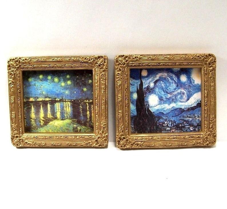 "Dollhouse Miniature Picture Framed Art Painting The Stone Bridge 2/"" x 3/"""